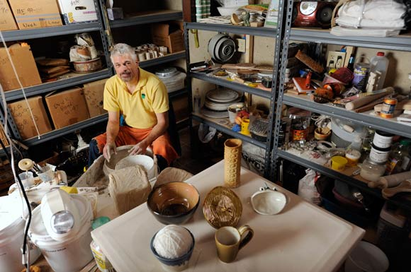ROD WRIGHT IN HIS POTTERY STUDIO AT HIS ELLICOTT CITY HOME