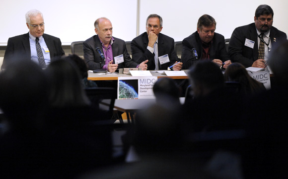 Ed Jaehne, second from left, chief strategy officer of KEYW Corp., on a cybersecurity panel