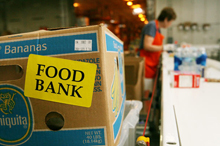 Volunteers sort goods at the Maryland Food Bank