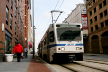 An MTA train in downtown Baltimore City