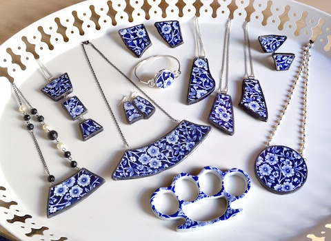 Juliet Ames' jewelry made from broken plates